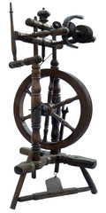Old textile spinning wheel isolated with clipping path