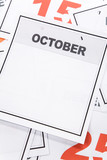 Blank Calendar, October, close up for background poster
