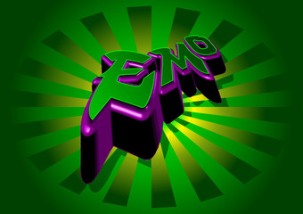 abstract green purple emo