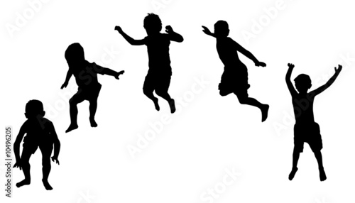 Jumping kid silhouette