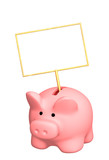 Piggy bank with poster - object over white poster