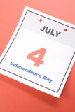 Independence Day, calendar date Fourth of July for background poster