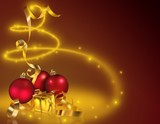 Gold Christmas 2 - background illustration as colored retouch poster