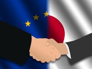 Handshake over EU and Japanese flags illustration