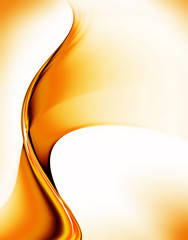 Golden motion, abstract illustration of wavy flowing energy,