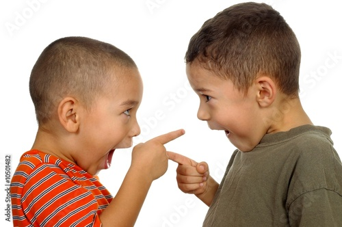 two boys arguing aged 4 and 5 years