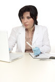 A forensic investigator with evidence swab, sit at computer poster