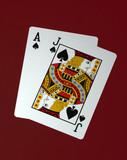 blackjack on red felt poster