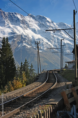 Swiss Alpine mountain railroad tracks outdoor scenery