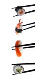 Stock Photo: Sushi with chopsticks isolated on white - 10506236