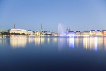 Deutschland, Hamburg, Binnenalster mit Brunnen