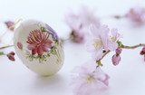 Floral painting on egg, Easter tradition, close-up