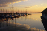 Austria, Burgenland, Boats moored at harbour, dusk