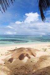 Seychelles seascape. Granite stones and ocean. Anse d'Argent