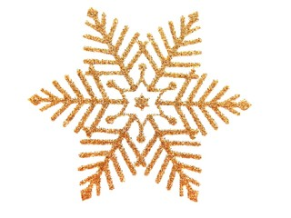 Gold brocade snow star on white