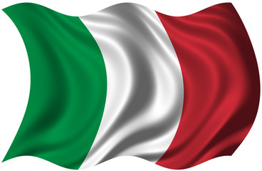 The National Flag of Italy on white