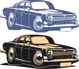 Vector cartoon retro muscle car