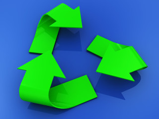 3d illustration of recycle sign blue background