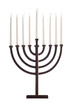 Beautiful unlit hanukkah menorah isolated on white.