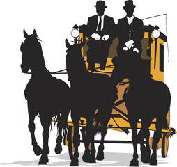 three-horse drawn  carriage, vector illustration