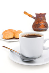 Breakfast with strong coffee in Turkish on the white background
