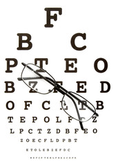 close up of glasses and snellen chart