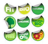 Set of labels for organic, fresh, healthy, bio food poster