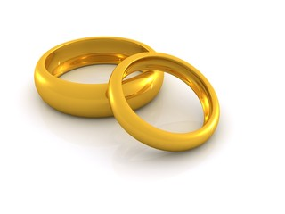 two gold rings. 3D wedding