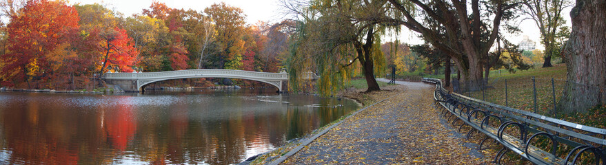Panoramic of bow bridge in autumn