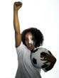 Frau mit Flagge der Elfenbeinküste, gemalt auf ihr Gesicht, Fußballfan