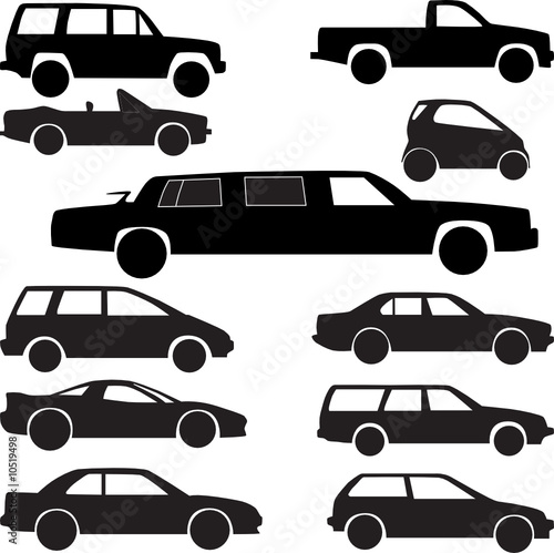 car collection silhouette vector