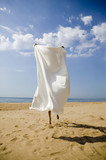 Young woman hiding behind bath towel on beach