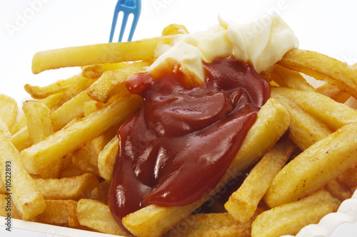 French fries with mayonnaise and ketchup