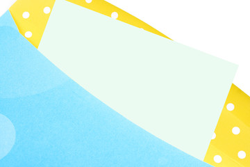 yellow and green  birthday envelope with blank note