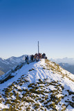 Austria, alps, people on mountain top
