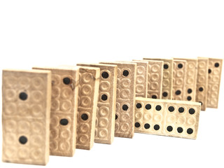 Photo of the domino blocks against the white background