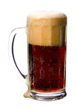 dark beer glass with foam, isolated on white poster