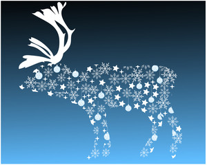 reindeer silhoutte with snowflakes and christmas ornaments