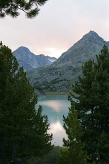 Mountain lake and sunset