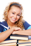 Portrait of smiling adult young girl journaled on the  books poster