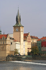 Clock tower on the Moldau in Prague