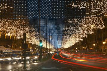 Traffic Light Trails on Decorated Street
