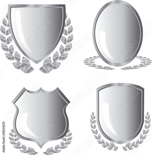 silver shields with laurel wreath on white background