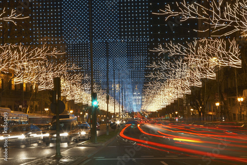 Traffic Light Trails on Decorated Street
