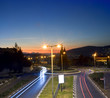traffic circle by night in the city of Karmiel, Galilee, Israel