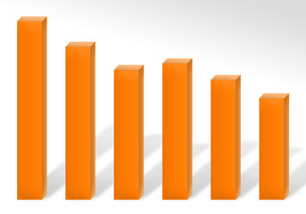 A 3d bar chart illustration showing loss or decline in earnings.