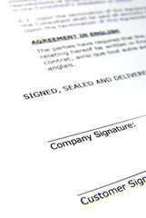 Detail view of the signature box of a contract.