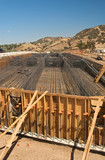 Highway bridge construction project showing rebar and wood poster