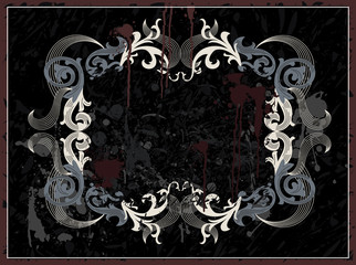 Vintage grunge frame in black color. Vector illustration.