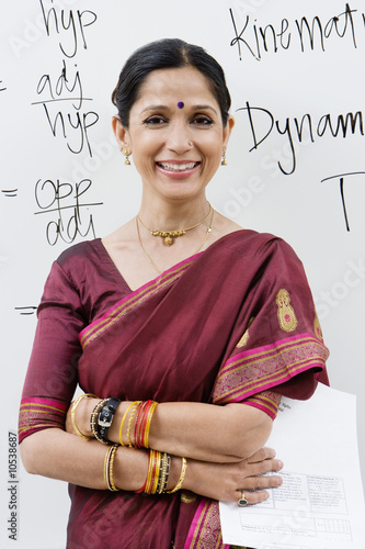 Indian Businesswoman in Front of Whiteboard